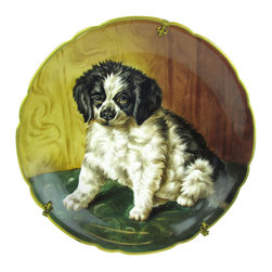 """Limoges - Hand-Painted Puppy Limoges Wall Charger - Antique French Limoges charger with adorable hand-painted portrait of a black-and-white puppy. Signed by the artist in the lower right, marked """"J Limoges"""" on the back. Rare original wall hanger with fleur-de-lis details, marked """"Déposé LB."""""""