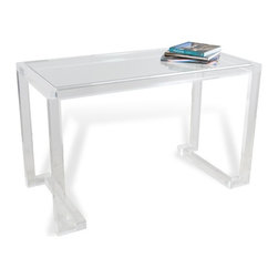 Interlude - Ava Acrylic Desk - The Ava Acrylic Desk is a beautiful statement desk.  Writing surface is scratch resistant glass for years of use.