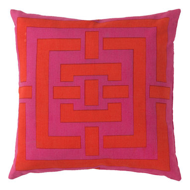 """Surya - Surya Pillow Kit Down Feathers Square Grenadine 20"""" x 20"""" Accent Pillow - This accent pillow brings texture to any space. Great addition to any couch or chair. Perfect for any room setting. Add this pillow to your collection today. Pillow Measurements are: 20"""" x 20"""", Pillow is made of: 100% Cotton, Color is: Poppy."""