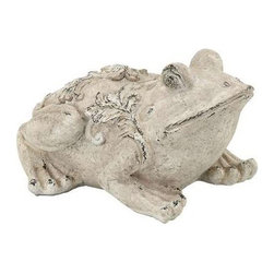 "Benzara - Garden Frog in Cream Shade - Garden Frog in Cream Shade. It comes with a dimension: 17"" W x 12"" D x 10"" H."
