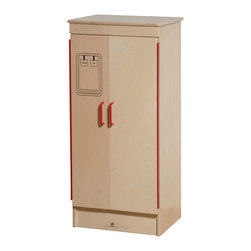 Steffywood - Steffywood Pretend Play Room Kids Kitchen Wooden School Age Refrigerator - Side-by-side refrigerator has full length piano hinges on doors.  Sturdy dowel construction with recessed wood grained back panel.