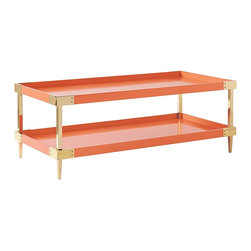 Savile Coffee Table, Persimmon - If fall is your favorite season and orange is your favorite color, this coffee table has your name written all over it! It's crafted entirely by hand of solid mahogany, and the semi-gloss paint adds some glam to its '60s-inspired style.