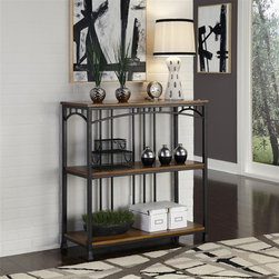 HomeStyles - Modern Craftsman 3-Tier Multi-Function Shelve - Reminiscent of the American Craftsman Era with understated style and simplicity, the Modern Craftsman 3-Tier Multi-Function Shelves marries a traditional, distressed Oak finish on engineered wood solids with oak veneers with new age, deep brown powder coated metal accented with gold highlighting. This multi-faceted storage shelf will meet all your storage needs, and will complement any area in the home such as bedroom, kitchen, office, living room, bathroom, etc. The Modern Craftsman Storage stand is equipped with three fixed shelves with metal supports to prevent bowing. Other features include levelers on the feet for added stability. 38 in. W x 16 in. D x 39.25 in. H