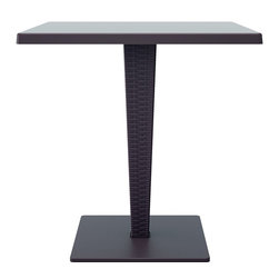 Siesta - Riva Werzalit Top Square Dining Table 27.5 Inch (set Of 1) - *Werzalit top. Wickerlook resin weave design. Not Woven, will not unravel.