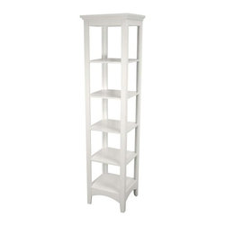 Elegant Home Fashions - Madison Avenue Linen Tower in White w 5 Shelv - Cheerfully detailed in white, the Madison Avenue linen tower is a must-have for bath areas. The slender multi-shelf design is classic with simple framing, arched aprons and a lipped top. It's sized just right for towels, toiletries and a host of other everyday items. Attractive addition to any bath decor. Adds style and storage to your bath with these refreshing furnishings. Glass windows. White finish. Made of MDF. 15 in. W x 13 in. L x 60 in. H