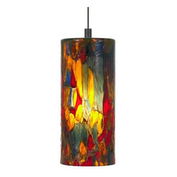 LBL Lighting - LBL Lighting Abbey Blue-Amber-Red LED Monorail 1 Light Track Pendant - LBL Lighting Abbey Blue-Amber-Red LED Monorail 1 Light Track PendantShowcasing a gorgeous translucent stained glass style Blue-Amber-Red cylinder, this stunning pendant will add beauty to any decor. This fixture features opal inner glass housing an included replaceable ultra energy efficient 6 watt LED module.LBL Lighting's Monorail is a versatile state-of-the-art track lighting system featuring hand bendable track in a variety of finishes to compliment any decor. The Monorail system is available in both ceiling mount or wall mount configurations for added flexibility. Monorail lighting pendants and heads are also compatible with LED Illuminated Monorail systems.LBL Lighting Abbey Blue-Amber-Red LED Monorail Features: