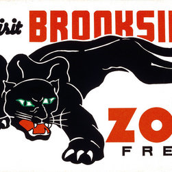 Visit Brookside Zoo Free Print - Visit Brookside Zoo Free. Created by teh Federal Art Project of Chicago Illinois in 1937 as a color silkscreen.Leopard with copy text. Attributed to Carken.