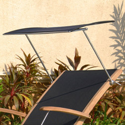 Sun Shade for Rivera Teak Sling Lounge Chair - Provide protection from the elements with this Sun Shade, made to fit the Rivera Teak Wood Sling Lounge Chair. Constructed of stainless steel and stretch resistant fabric, this lounge chair attachment will become a favorite necessity season after season.