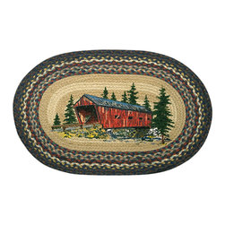 Earth Rugs - OP-304 Covered Bridge Oval Patch 20in.x30in. - Covered Bridge Oval Patch 20 in. x30 in.