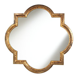 "Uttermost - Lourosa Quatrefoil 34"" x 34"" Decorative Wall Mirror - Shimmering bronze and gold finishes are accented by copper undertones on this stunning quatrefoil shape mirror. Give an empty wall the style upgrade it deserves with this classic, decorative wall mirror! Hammered metal is coated in bronze and gold finishes, with copper undertones, to make this quatrefoil shaped wall mirror sparkle! This chic mirror is a staggering 34"" wide and high, and helps to reflect light while making any room appear larger. This is an exclusive size and design handmade just for us by Uttermost mirrors."