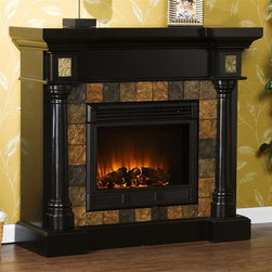 Holly & Martin - Carrington Convertible Electric Fireplace - Eco-friendly. Ventless. Rounded columns on either side of firebox are topped off with square tiles. Faux slate front. Beautiful media room accent. Remote control requires two AAA batteries. Realistic flickering flame effect. Long life LED lights. 120V-60Hz, 1500W / 5000 BTUs, 12.5 Amp. Easy to use adjustable thermostat. Safety thermal overload protector. Adjustable flame brightness control. Plugs into standard wall outlet with 6 ft. cord. Tested to heat 1500 cubic feet in only 24 minutes. Uses about same energy as coffee maker. 100% energy efficient with low operating costs. Produces zero emissions and pollutants. No combustion glass remains cool to touch. Mantel supports upto 85 lbs.. Accommodates upto 47 in. flat screen TV. Made from poplar wood, MDF, resin, metal and glass. Assembly required. Firebox front: 23 in. W x 20 in. H. Flat wall: 44.5 in. W x 16.75 in. D x 40.25 in. H (130 lbs.). Corner: 44.5 in. W x 27.75 in. D x 40.25 in. H (130 lbs.)Beautifully rustic, this antique ivory fireplace exudes character and style. This versatile fireplace is complete with a collapsible panel, making it easy to place against a flat wall or in a corner. Requiring no electrician or contractor for installation allows instant remodeling without the usual mess or expense. In addition to your living room or bedroom, try moving this fireplace to your dining room for romantic dinners or complement your media room with a ventless fireplace below your flat screen television. Use this great functional fireplace to make your home a more welcoming environment.