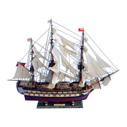 """Handcrafted Model Ships - HMS Leopard 36"""" - Wooden Model Tall Ship - Sold Fully Assembled Ready for Immediate Display -Not a Model Ship Kit"""