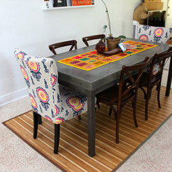"""Miami Eclectic - Dining Table, 73"""" x 36"""", Hand Pressed finish, dark grey,  Welded Steel Tube Base"""