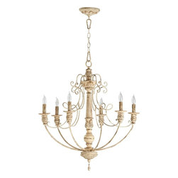 Quorum Lighting - Quorum Lighting Salento Traditional Chandelier X-07-6-6016 - Create an elegant glow with this exquisite Chandelier. The Quorum Lighting Salento Transitional Chandelier features Persian White finish with candelabra fixtures. It creates a charming, formal atmosphere to your home. Add this beauty to a dining room, bedroom, or entryway for a dazzling, romantic glow.