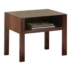 "Steve Silver Company - Steve Silver Company Lamar Modern Glass Top End Table in Cherry Finish - Steve Silver Company - End Tables - LM500E - The sleek minimalist look of the Lamar Collection is highly versatile complementing a variety of modern Decor styles. The Lamar end table stands 22"" high with spacious 24"" x 22"" surface and open shelf space. Complement the piece with the Lamar media cabinet and end table."
