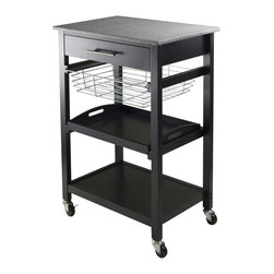 "Winsome Wood - Winsome Wood Julia Utility Cart with Black Finish X-22302 - Julia Kitchen Cart has granite top for easy to clean and plenty of functions.  Cart includes on a drawer, a foldable metal basket, a removable serving tray and fix bottom shelf plus on casters for mobility.  Overall cart size is 22.68""W x 16.06""D x 34.13""H.  Granite top size 22.68""W x 15.75""D.  Inside drawer is 17.80""W x 12.40""D x 2.4""H.  Foldable wire basket is 15.96""W top x 13.13""D x 4.02""H.  Removable tray is 17.28""W x 12.54""D x 1.22""H.   Black Finish.  Assembly Required."