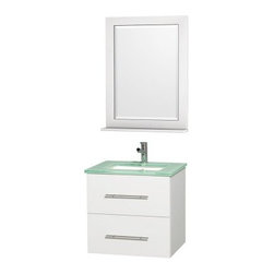Wyndham Collection Centra 24-in. Single Bathroom Vanity Set - White - Simply modern and built to last a lifetime, the Wyndham Collection Centra 24-in. Single Bathroom Vanity Set - White adds style and storage to your bath. The vanity has a clean white finish and includes two spacious drawers with slender brushed chrome rod pulls for stylish organization. It's made of eco-friendly, solid hardwoods and includes an undermount sink, your choice of contemporary countertop materials, and a matching framed mirror with handy shelf. About the Wyndham CollectionWyndham and the Wyndham collection are all about refinement, detailing, uniqueness, quality, and longevity. They are dedicated to the quality of their products and own the factory where each piece is constructed. This allows Wyndham to offer products that reflect the rigorous quality standards required for every piece that is offered to their customers. The Wyndham collection showcases elegant, modern design styles that highlight functionality and style in every detail.