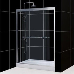 """Bath Authority DreamLine - Bath Authority DreamLine Duet Sliding Shower Door (56""""-60"""") - With its anodized aluminum profiles and impressive guide rails, 5/16"""" clear glass and convenient towel bar handles the Duet bypass shower door is the right answer for your shower project. Both doors, with integrated convenient handles, slide effortlessly on the perfectly engineered guide rails allowing for convenient shower entry on either side of the shower. The smart design of this bypass shower door also allows for out-of-plumb adjustment of up to 1/2"""" on each side of the door. The top and bottom guide rails of the Duet bypass door may be shortened by cutting up to 4"""" to fit required installation space. Matches with any DreamLine(TM) Amazon Shower base. Features 2-panel sliding (bypass) doors Tempered thick 5/16"""" (8mm) clear glassDoor opening: 22 - 26"""" Stationary panel: 29-5/8""""Anodized aluminum profiles and guide rails Chrome or brushed nickel hardware finish Width installation adjustability: 56 - 60""""Two towel bars/handles allow to reach bath towel easily after bathing Out-of-plumb 1/2"""" adjustability on each side allows for easy installation Optional SlimLine shower base and shower backwalls available Installation GuideTechnical Drawing Information regarding the return policy of your DreamLine(TM) product is available here. If you have any questions, please contact us before ordering. View Spec Sheet"""