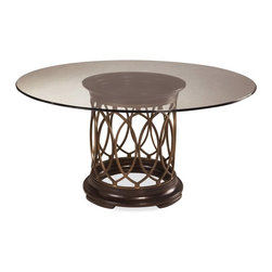 A.R.T. Furniture - A.R.T. Furniture Intrigue Glass Top Round Dining Table - Dark Wood with Maple St - Shop for Dining Tables from Hayneedle.com! The glass tabletop and open metal fretwork of the A.R.T. Furniture Intrigue Glass Top Round Dining Table Dark Wood with Maple Stringer Inlay present a feast for the eyes in transitional decors. Crafted from radiata hardwood solids this table features gray elm veneers and maple stringer inlays with repeating marquise shapes around the circumference.About A.R.T. FurnitureFounded in 2003 A.R.T. Furniture creates beautiful high-quality furniture inspired by architecture and design. Their sophisticated aesthetic draws upon the best of traditional European furniture designs as well as rustic coastal and transitional styles. A.R.T. Furniture is known for its themed collections that reinvent classic forms for the needs of contemporary home decorators. Their dining room bedroom entertainment and living room furnishings are constructed from sustainably forested hardwoods and veneers. A.R.T. Furniture is distinguished by its superior craftsmanship and attention to detail taking the extra step in the manufacturing process to ensure quality beauty and durability for its customers.