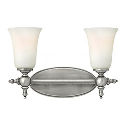 Hinkley - Hinkley Yorktown 2-Light Antique Nickel Vanity - 15.5 in. x 9.5 in. - This 2-Light Vanity is part of the Yorktown Collection and has an Antique Nickel Finish. It is Damp rated.