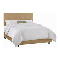 Skyline Furniture - 75 in. 5 Button Adjustable Bed w Metal Legs ( - Choose Size: TwinHand crafted 5 button bed enriches your decor and lends your space a tastefully stylish touch. Drawing inspiration from retro design and also incorporating clean contemporary elements. This pine wood frame bed features micro fiber suede upholstery and a button tufted. Adjustable headboard. Several color choices and sizes make this piece truly irresistible. Thick luxurious foam padding. Adjustable height headboard. Requires box spring. Premier microfiber suede upholstery. Polyurethane foam cotton. Beautifully hand rafted bed. Adds style to any bedroom. Guarantees product from manufacturers defects and does not include fabric. One year limited warranty. Made from pine wood. 75 in. L x 41 in. W x 52 in. HHand crafted 5 button bed enriches your decor and lends your space a tastefully stylish touch. Drawing inspiration from retro design and also incorporating clean contemporary elements. This pine wood frame bed features micro fiber suede upholstery and a button tufted. Adjustable headboard.