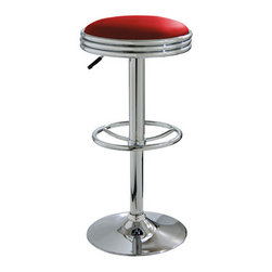 New Buffalo Corp. - Amerihome Soda Fountain Style Bar Stool - Red - The Amerihome Soda Fountain Style Bar Stool lends a cool retro vibe to any game room, basement, bar, kitchen, or shop. The bar stool has a design reminiscent of the days of diners and drive-ins, and features a mirror like polished chrome base and a Red vinyl seat for a hint of vintage retro style.