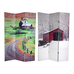 Oriental Furniture - 6 ft. Tall Double Sided Rural Beauty Room Divider - This screen epitomizes simple, serene, beautiful landscape photography at it's very best. The picture on the front is of an idyllic bridge in Newport, Virginia, artfully framed in a silent shroud of snow. On the back is a lovely Vermont farmhouse, with a split rail fence hugging the sinuous curve of a gravel road, in the unmistakable colors of late fall. These comforting, uplifting photographs will bring beautiful decorative accents to your yoga/massage studio, medical/dental waiting room, dorm room, clubhouse, family/entertainment room, living room or bedroom. This three panel screen has different images on each side, as shown.