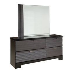 Standard Furniture - Standard Furniture Reaction 4-Drawer Dresser with Mirror in Black and Grey - A combination of smooth and textured black and grey surfaces on clean square profiles creates reactions distinctive modern look.