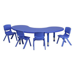 "Flash Furniture - 35''W x 65''L Blue Plastic Activity Table Set with 4 School Stack Chairs - This table set is excellent for early childhood development. Primary colors make learning and play time exciting when several colors are arranged in the classroom. The durable table features a plastic top with steel welding underneath along with height adjustable legs. The chair has been properly designed to fit young children to develop proper sitting habits that will last a lifetime.; Children's Half-Moon Shaped Table Set; Set Includes 4 Stackable School Chairs and Half-Moon Shaped Table; Primary Blue Color; 35""W x 65""L Half-Moon Shaped Plastic Activity Table; 35""W x 65""L Half-Moon Shaped Plastic Activity Table; 220 lb. Static Load Capacity; Safety Rounded Corners; Welded Steel Frame under top provides extra stability; Adjustable Height Steel Legs with Floor Glides Extend Out 9""; Height Adjustable Feature Accommodates Children up to Age 7; Table Size: 35""W x 65""L x 14.5"" - 23.75""H; School Chair with 10.5"" Seat Height; 154 lb. Static Load Capacity; Stacks up to 10 Chairs High; Designed to encourage proper sitting habits; Polypropylene Plastic Shell; Contoured One-Piece Shell; Lightweight Design; Easy To Clean; No Metal Parts prevent injuries to small children; Recommended for Preschool - Kindergarten Ages; Weight: 52 lbs; Overall Dimensions: 35""W x 65""D x 14.5"" - 23.75""H"