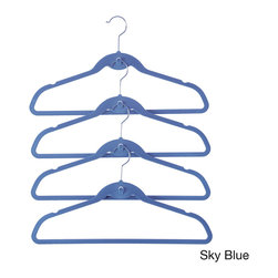 ClutterFREE Hangers - Clutter-free 72-pack Cascade Hangers - These strong,durable and flexible hangers hold any garment without fear of breaking,even heavy coats and jackets. The smooth,gentle curves of the ClutterFREE hangers preserve the shape of your clothing and the long chrome hook fits on any closet rod.