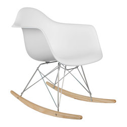 Modern Ash Wood Rocker in White - Rocking chairs aren't just for grandparents anymore. This contemporary design is based on the landmark aesthetics of the first industrially manufactured chairs. The white chair's mold was created in the spirit of economy and affordability, and designed to spread the sitter's weight and pressure evenly. The deep seat and waterfall edge provide additional comfort as the design shapes itself around the body's curves. Ash wood sleighs ensure an experience that will last for years to come. At once playful and modern, this rocking chair supports the body with its curvy design, creating the ideal spot to rock away your troubles. At a time when gliders and rocking chairs range from large to enormous, the Ash Wood Rocker makes for a more compact, comfortable seated experience. Flip through Goodnight Moon, sing lullabies to newborns, or simply pause and hang out in this stylish, hard-wearing must-have piece.