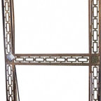 """Window Frame - Cast iron with glass window from a hotel in Kansas City. It's OLD, weathered, aged and has some damage and bends but it's still a gorgeous piece of art. 43 x 90"""", 1.25"""" deep."""