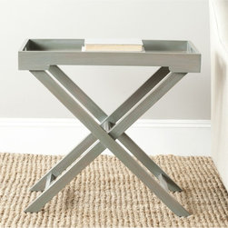 Safavieh - Leo Ash Grey Accent Table - Recalling campaign-style furniture of the British colonial era, the thoroughly modern Leo accent table does double duty as side table and serving tray.