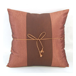 None - Silky Two-tone Rich Light Brown Throw Pillow Cover - Decorate in sophisticated style with this luxurious cushion coverThrow pillow cover is entirely handmadeUnique decorative accessory features a silky central chocolate brown ribbon flanked by sections of satiny light brown