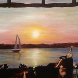 Sunset Beach, Shelter Island (Original) by Sheri Alimonda - I spent the summer with friends in the Hamptons, and was at a busy event in a bar on Shelter Island when I looked away from the crowd, and through the opening in the window, saw this beautiful, peaceful scene. It's a painting in two parts, the part you can see (sunset, sailboat) and the part you can't see-the crowd dancing and partying behind me.