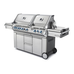 Napoleon - Napoleon Prestige PRO825 Grill with Infrared Rear and Side Burners Multicolor - - Shop for Grills from Hayneedle.com! The product specialists at Hayneedle have been extensively trained by the manufacturer of Napoleon grills. These specialists know the product inside and out top to bottom front to back. They're here to help you with every step of your Napoleon grill purchasing process. Learn everything you need to know as you customize your grill island with drawers doors pizza ovens and more! Call 866-579-5183 to speak with a product specialist and start building your dream grill island today. Hours: Monday-Friday 9 a.m.-7 p.m. E.T. The Napoleon Prestige PRO825 Grill with Infrared Rear and Side Burners make a great gift for Father's Day birthdays and more. Option to choose propane or natural gas fuel type. The main grill surface comes with 837 square inches of cooking space featuring an infrared rear burner for slow-roasting (a rotisserie kit is included) featuring a total of 123 000 BTUs of cooking heat. A roll-top lid is easy to lift and helps retain heat for efficient cooking. Provide the meat with rich smoky flavor thanks to an integrated wood-chip smoker tray. A bucket is built into the grill providing a handy place for marinades and ice. Slide dice chop and mince meat vegetables and fruit right by the grill for the freshest ingredients possible. Each of the stainless steel wave-shaped tube burners is individually ignited by JetFire buttons. Built-in halogen lights and Night-Light backlit knobs make cooking at night a fun adventurous alternative. The double-door cabinet built into the base features storage shelves accessory hooks and more. You'll find this grill perfect for everything from burgers brats roasted vegetables and more. About Napoleon Napoleon got its start in 1976 as a steel fabrication business launched by Wolfgang Schroeter in Barrie Ontario Canada. Solid cast iron two-door stoves became a single glass door model with Pyroceram high-temperature ceramic glass. In 1981 the name Napoleon was coined for their items. Over the years Napoleon has led the way with innovative engineering and design. They are now North America s largest privately owned manufacturer of quality wood and gas fireplaces gourmet gas and charcoal grills outdoor living products and heating and cooling products.