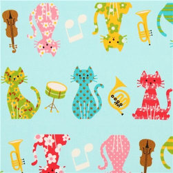 turquoise oxford cats music instruments fabric Cosmo Japan - cute animal fabric with colorful patterned cats with violin, horn, trumpet, notes etc.