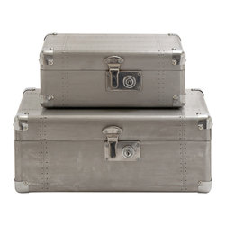 Benzara - Modern and Classic Inspired Style Wood Aluminum Case Set of 2 Home Decor - Description: