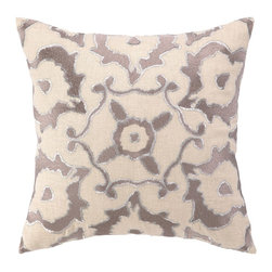 Vintage Ikat Taupe Embroidered Linen Pillow - This simple ikat pillow is so pretty, but it's the silver thread that just makes it. I would love a pair of these for my guest room.