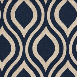 Close to Custom Linens - 50W x 84L Shower Stall Curtain, Lined, Nicole Indigo Blue Beige Geometric - Nicole is a contemporary medium scale geometric in indigo blue on a neutral beige linen-textured background. Reinforced button holes for 8 curtain rings.