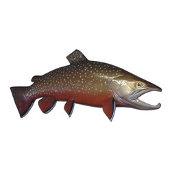 "Troy Denson - 24"" Brook Trout Half Mount Fish Replica - This half mount Brook Trout measures 24 inches long. This is a beautiful and colorful fish."