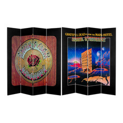 """Oriental Furniture - 6 ft. Tall Double Sided Grateful Dead Mars Hotel/American Beauty - Powerful, beautiful cover art from two classic entries in the Grateful Dead's studio discography, """"American Beauty"""" and """"Grateful Dead from the Mars Hotel."""" Printed on a furniture grade special edition full sized floor screen. Colorful, creative renderings of authentic Grateful Dead graphic art and a stylish decorative background, practical and attractive for modern home and office decor."""
