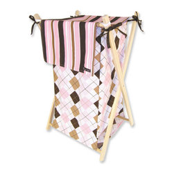 """Trend Lab - Hamper Set - Prep School Pink - Trend Lab's Prep School Pink Hamper Set is a decorative solution for quick clean up. The argyle print body with stripe print outer flap easily attaches to the collapsible pine wood frame. The fashionable color palette of bubblegum pink, chocolate brown, caramel and white make this hamper suitable for any room of the house. Machine washable inner mesh liner is removable making the transport of laundry effortless. Assembled hamper measures 27"""" x 15"""" x 15"""". This hamper coordinates with the Prep School Pink collection."""
