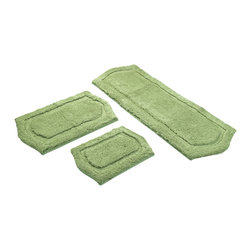 None - Sage Green  Memory Foam 3-piece Bath Mat Set - This memory foam bath rug comes with three pieces in different sizes to cover the various areas of your bathroom. The plush memory foam provides plenty of cushion for your feet, and each piece in the set comes with a skid-resistant mat for safety.