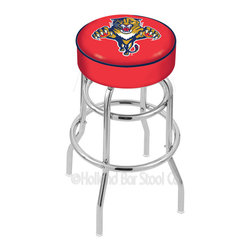 """Holland Bar Stool - Holland Bar Stool L7C1 - 4 Inch Florida Panthers Cushion Seat - L7C1 - 4 Inch Florida Panthers Cushion Seat w/ Double-Ring Chrome Base Swivel Bar Stool belongs to NHL Collection by Holland Bar Stool Made for the ultimate sports fan, impress your buddies with this knockout from Holland Bar Stool. This L7C1 retro style logo stool has a 4"""" cushion with a tough double-ring base and a chrome finish. Holland Bar Stool uses a detailed screen print process that applies specially formulated epoxy-vinyl ink in numerous stages to produce a sharp, crisp, clear image of your desired logo. You can't find a higher quality logo stool on the market. The structure is triple chrome-plated to ensure a rich, polished finish that will last ages. If you're going to finish your bar or game room, do it right- with a Holland Bar Stool. Barstool (1)"""