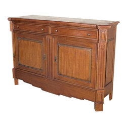 MBW Furniture - Solid Mahogany 2 Door Buffet Sideboard Server w/ Drawers - This is a gorgeous solid mahogany sideboard. It has a beautiful shaped top surface and it has very attractive fluted front corners with an Art Deco like skirt. It features 2 drawers with dovetail joinery and they have traditional facings with small lovely handles and there is a spacious cabinet that has 2 shelves, 1 removable, with 2 paneled doors richly adorned with carved beads and raised surfaces with traditional pulls. This beautiful furniture will be welcome in any room you choose to use it in since it blends in well with many decors.