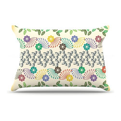 "Kess InHouse - Famenxt ""Flowers & Leaves Pattern"" Abstract Geometric Pillow Case, Standard (30"" - This pillowcase, is just as bunny soft as the Kess InHouse duvet. It's made of microfiber velvety fleece. This machine washable fleece pillow case is the perfect accent to any duvet. Be your Bed's Curator."