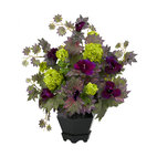 Covered In Style Inc - Morning Glory & Hydrangea Arrangement - What's the story, morning glory? Vibrant green hydrangeas provide a luxuriant contrast to the fluttering morning glories and spiky leaves. A wood vase finishes off the effect, allowing you to enjoy nature in your home year-round.