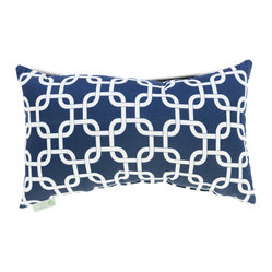 Indoor Navy Blue Links Small Pillow