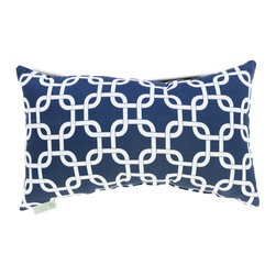 Majestic Home - Indoor Navy Blue Links Small Pillow - Been there, done that with stripes and solids? Throw this uniquely patterned pillow made of durable cotton twill into your mix — living room, bedroom, chick cave, wherever.